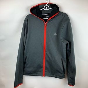 Lacoste Sport Zippered Hoodie Gray with Red Trim